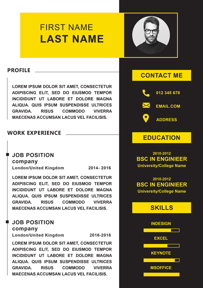 vertical yellow resume template